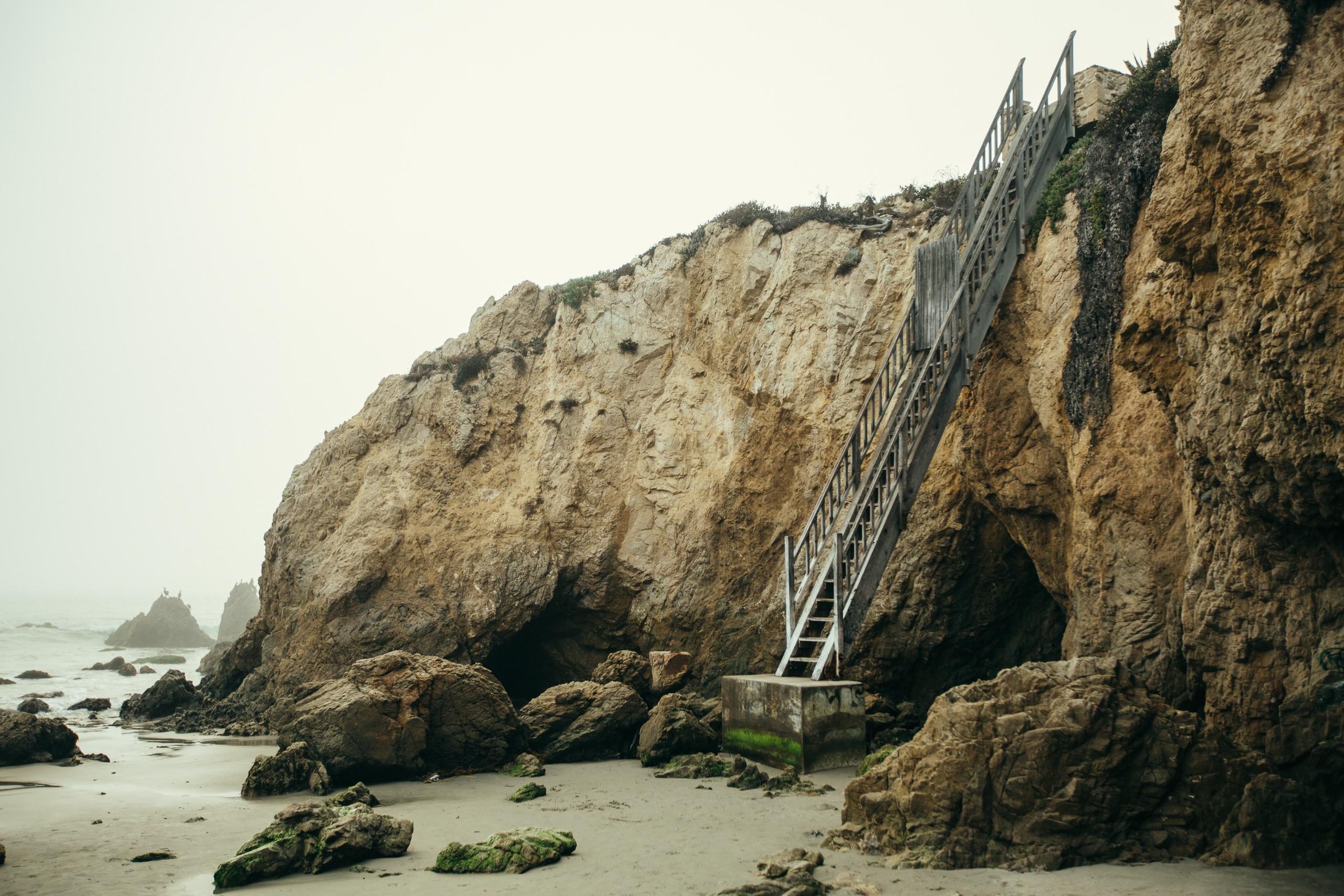 malibu beach overcast stairs
